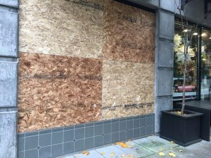 Boarded-up Store after Anti-Trump Rioting
