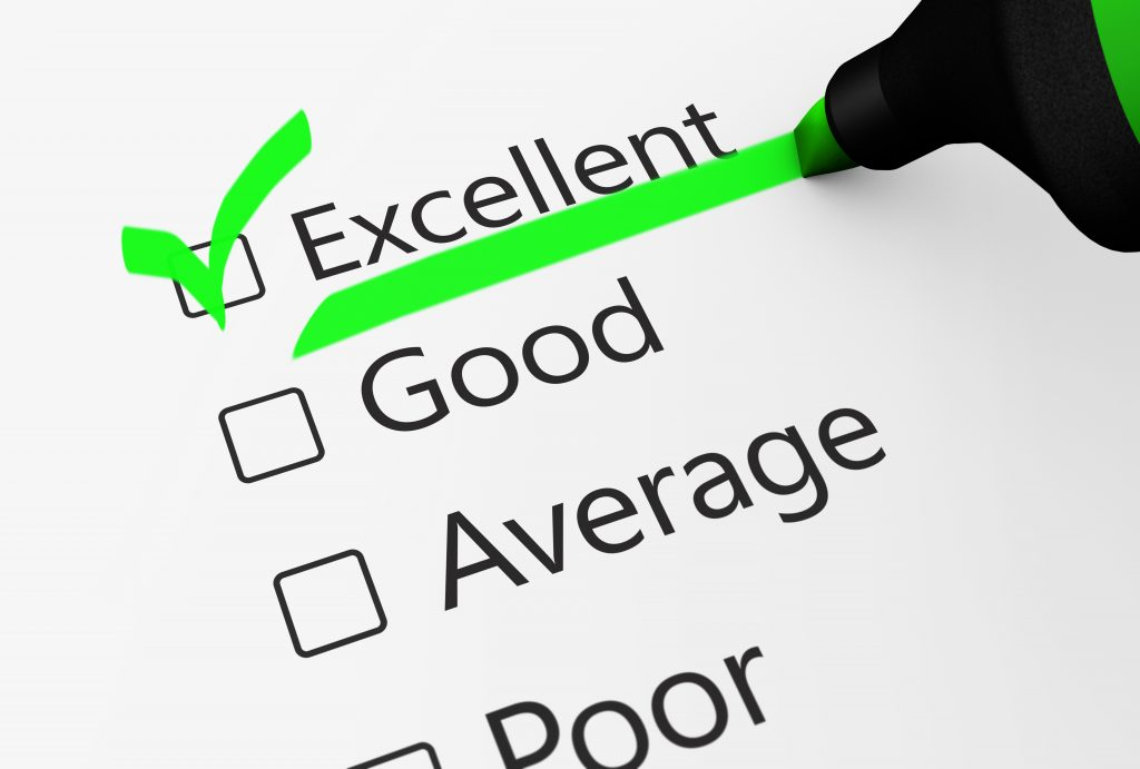 """Checklist with """"excellent"""" on top"""