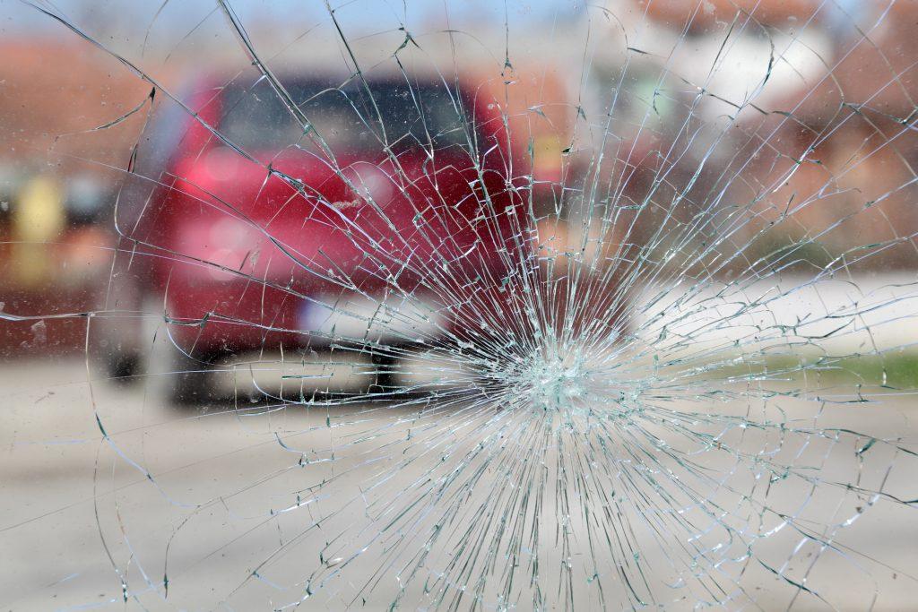 broken windshield glass
