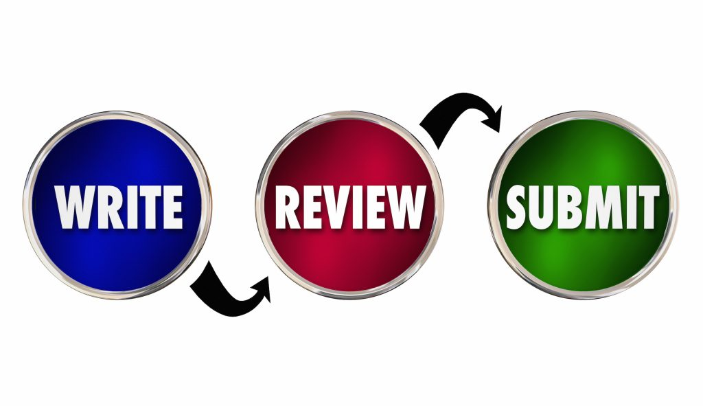 The words Write, Review, Submit