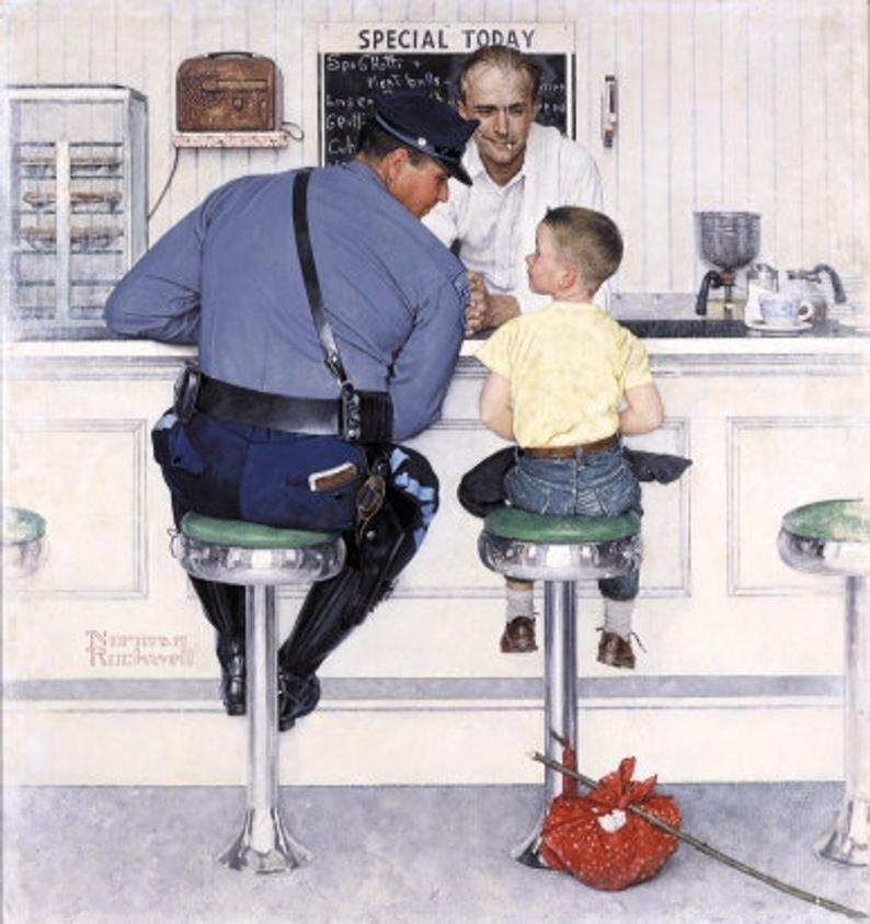A runaway boy sits next to a police officer at a soda fountain