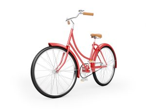 a red women's bicycle
