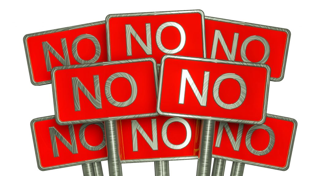 """Eight signs saying """"no"""""""