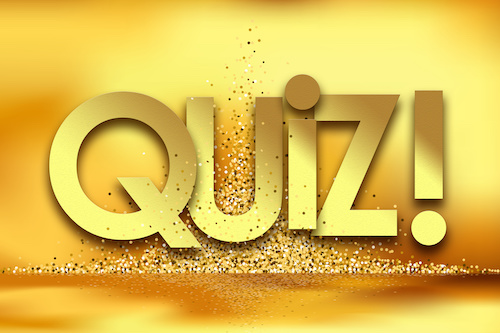 quiz in golden stars background