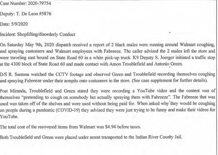 From the Smoking Gun - Police Report about a Walmart Incident